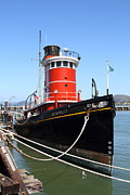 Fishermans Wharf Framed Prints - The Hercules . A 1907 Steam Tug Boat At The Hyde Street Pier in San Francisco California . 7D14138 Framed Print by Wingsdomain Art and Photography