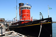 Fishermans Wharf Framed Prints - The Hercules . A 1907 Steam Tug Boat At The Hyde Street Pier in San Francisco California . 7D14141 Framed Print by Wingsdomain Art and Photography