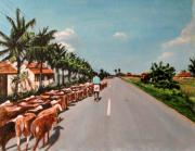 Perspective Paintings - The Herd 3 by Usha Shantharam