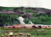 Yellowstone Paintings - The Herd by Donald Maier