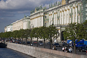 St Petersburg Posters - The Hermitage Museum Sits On The Banks Poster by Taylor S. Kennedy