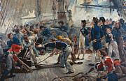 Battle Painting Framed Prints - The Hero of Trafalgar Framed Print by William Heysham Overend