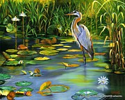Beth Smith Metal Prints - The Heron Metal Print by Beth Smith