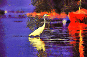 Yellow Beak Paintings - The heron by Odon Czintos