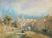 Cathedral Paintings - The High street Lincoln  by Thomas Kearnan