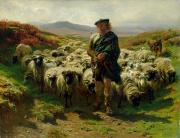 Highlands Posters - The Highland Shepherd Poster by Rosa Bonheur