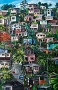 Tropical Painting Metal Prints - THE HILL     Trinidad  Metal Print by Karin Best