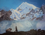 Himalaya Paintings - The Himalaya Mountains by Nidhi Namdev