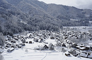Japanese Village Prints - The Historic Village Of Shirakawa-go In Winter Print by Toyofumi Mori