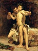 Nudes Tapestries Textiles Prints - The Hit Print by Frederic Leighton