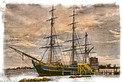 Docked Sailboats Photo Framed Prints - The HMS Bounty Framed Print by Debra and Dave Vanderlaan
