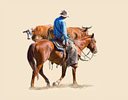 Cattle Digital Art Posters - The Hold Up Poster by Dewain Maney