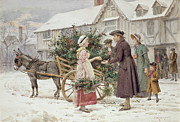 Donkey Painting Posters - The Holly Cart Poster by George Goodwin Kilburne
