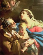 Blessed Virgin Posters - The Holy Family Poster by Gaetano Gandolfi