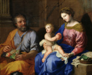 New Testament Paintings - The Holy Family by Jacques Stella