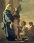 Worship God Painting Metal Prints - The Holy Family Metal Print by Nicolas Poussin