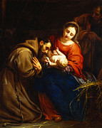 Virgin Mary Posters - The Holy Family with Saint Francis Poster by Jacob van Oost