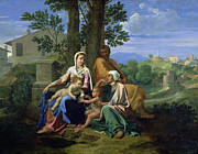 Poussin Posters - The Holy Family with SS John Elizabeth and the Infant John the Baptist Poster by Nicolas Poussin