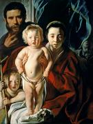 Saint  Paintings - The Holy Family with St. John the Baptist by Jacob Jordaens