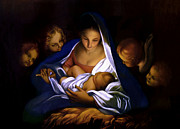 Mary And Jesus Paintings - The Holy Night by Carlo Maratta