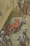 Pontius Pilate Framed Prints - The Holy Stair Framed Print by Tissot