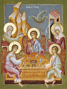 Hospitality Of Abraham Prints - The Holy Trinity Print by Julia Bridget Hayes
