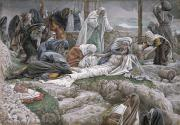 Gouache Painting Prints - The Holy Virgin Receives the Body of Jesus Print by Tissot