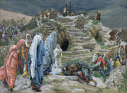 Virgin Mary Paintings - The Holy Women Stand Far Off Beholding What is Done by James Jacques Joseph Tissot