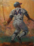 Baseball Drawings Pastels Framed Prints - The Homerun King Framed Print by Tom Forgione