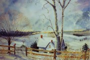 Snowfall Paintings - The Homestead by Marilyn Smith