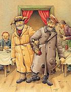 Russian Framed Prints - The Honest Thief 01 Illustration for book by Dostoevsky Framed Print by Kestutis Kasparavicius