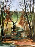 Autumn Landscape Drawings Framed Prints - The Honorable Stag Framed Print by Mindy Newman