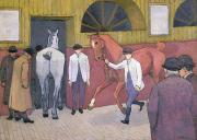Bowler Framed Prints - The Horse Mart  Framed Print by Robert Polhill Bevan