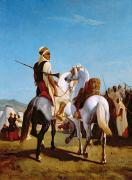 Arab Painting Prints - The Horse of Submission Print by Louis Eugene Ginain