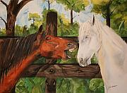 Talking Painting Prints - The Horse Whisperers Print by Jean Blackmer