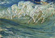 Wild Horses Painting Prints - The Horses of Neptune Print by Walter Crane
