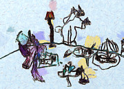 Wildlife Celebration Paintings - The horses picnic by Odon Czintos