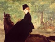 Riders Paintings - The Horsewoman by Edouard Manet
