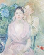 Morisot; Berthe (1841-95) Painting Metal Prints - The Hortensia Metal Print by Berthe Morisot