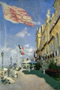 Promenade Prints - The Hotel des Roches Noires at Trouville Print by Claude Monet