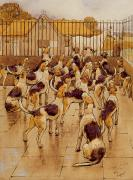 Pen Prints - The Hounds began suddenly to howl in chorus  Print by Cecil Charles Windsor Aldin