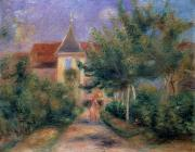 Spire Posters - The House at Giverny under the Roses Poster by Pierre Auguste Renoir