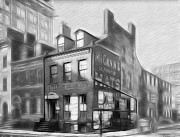 New York Drawings Metal Prints - The House at the Corner Metal Print by Stefan Kuhn