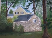Shed Painting Framed Prints - The house behind the shed Framed Print by Marie Dulny
