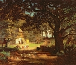Livestock Painting Posters - The House in the Woods Poster by Albert Bierstadt