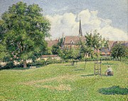 Village Paintings - The House of the Deaf Woman and the Belfry at Eragny by Camille Pissarro