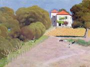 Fencing Paintings - The House with the Red Roof by Felix Edouard Vallotton