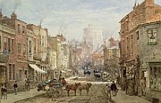 Brick Building Painting Framed Prints - The Household Cavalry in Peascod Street Windsor Framed Print by Louise J Rayner