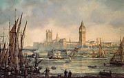 Old Sailing Ship Paintings - The Houses of Parliament and Westminster Bridge by Richard Willis