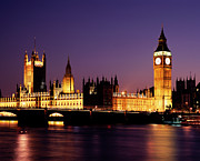 Equipment Photo Posters - The Houses Of Parliament At Night, London Poster by Lothar Schulz